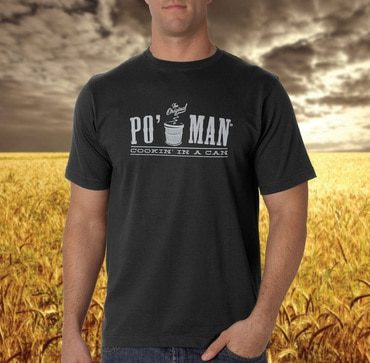 The woods?! Who wouldn't wear a Po' Man shirt in the woods. If you have any other backgrounds you want to see the shirt in front of, we'd be happy to have this model stand really perfectly still so we can replicate the other shots for you. Thanks! - team Po' Man.